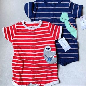 Animal Short Romper Set NWT CARTERS Blue Red 3mo